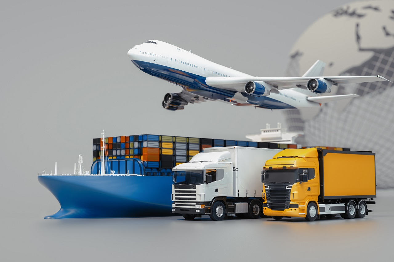 Plane, boat, and trucks
