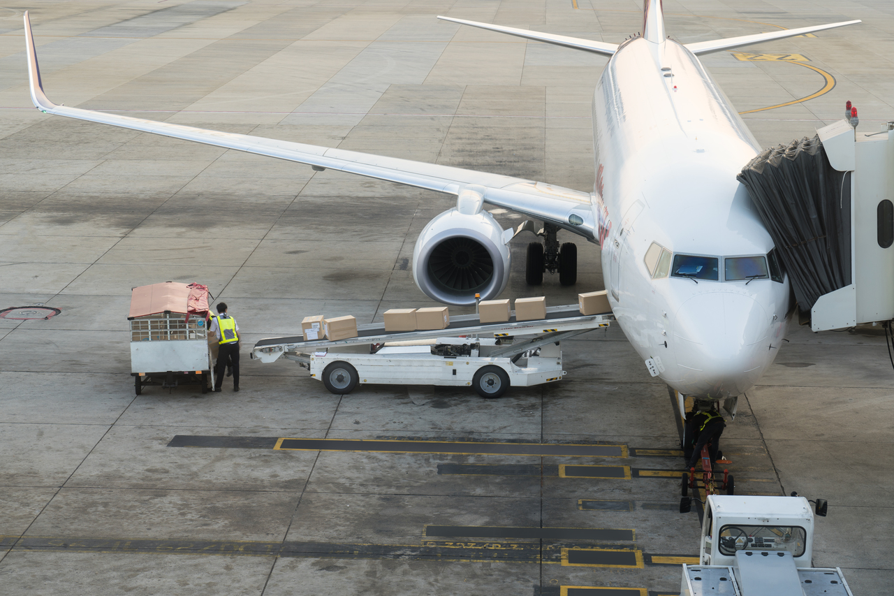 Loading cargo on the plane in airport. Cargo airplane loading or