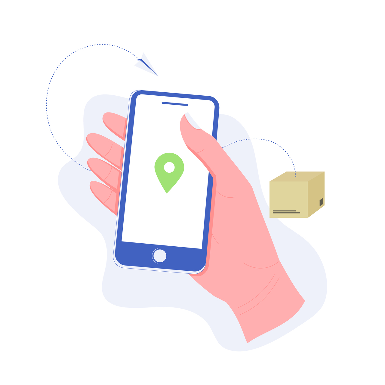 Hand holding a smartphone with map mark