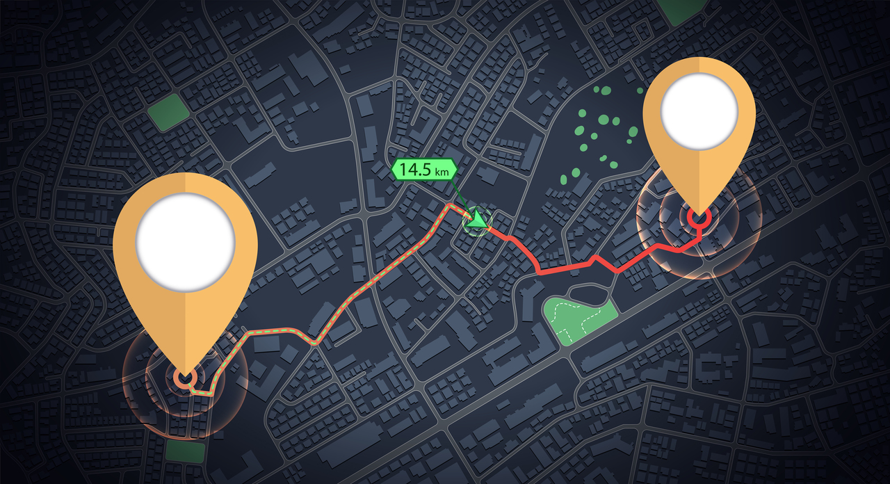 GPS mock up icon tracking with distance arrow on city map
