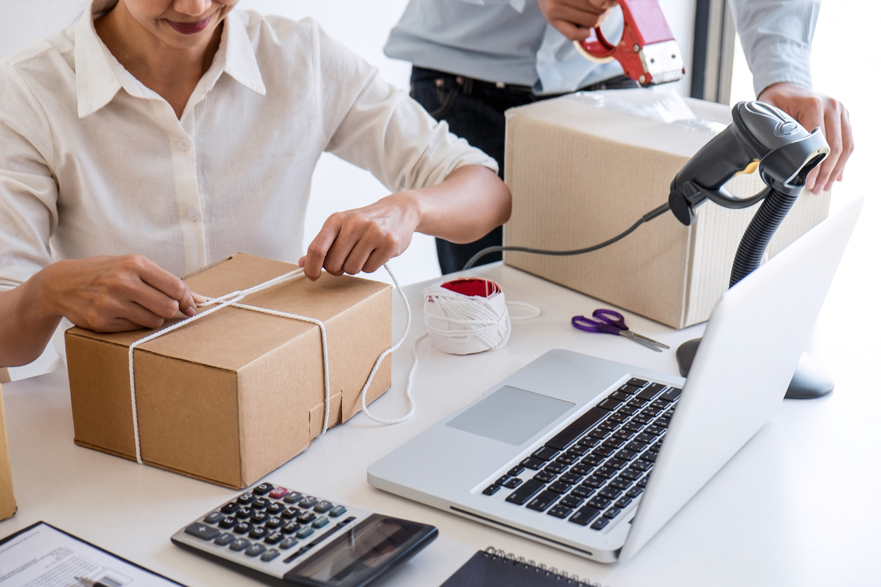 Small business owner delivery service and working packing box, b