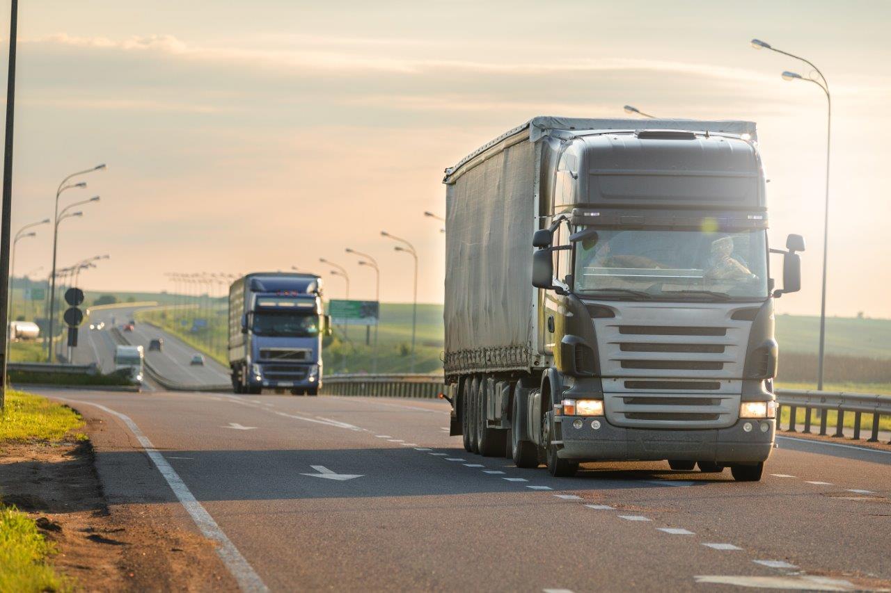 logistics trucks on the road