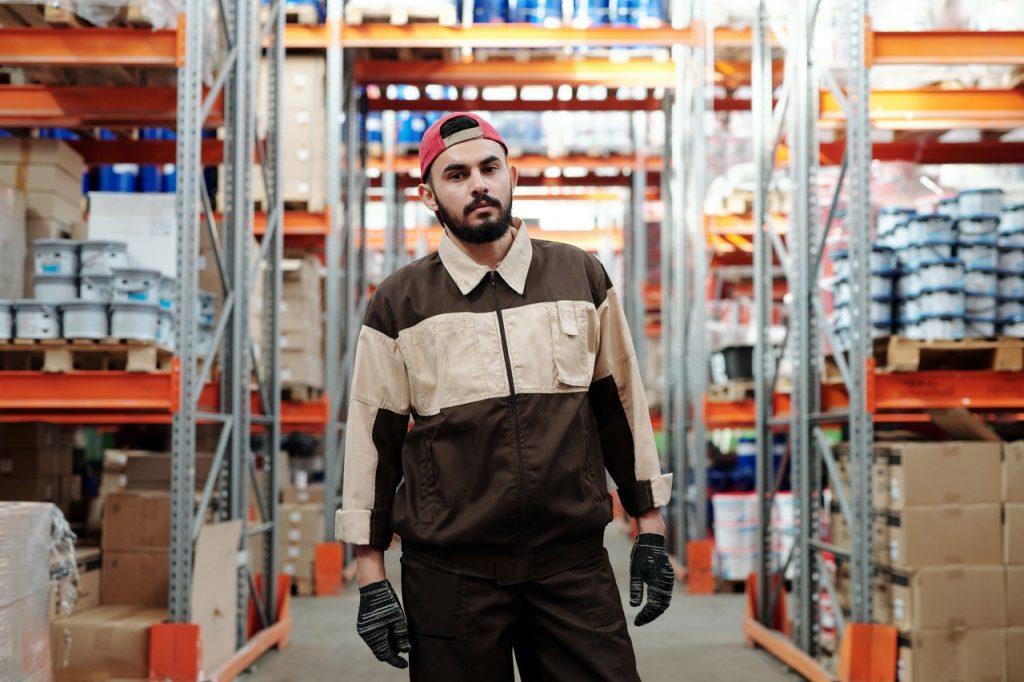 A warehouse worker doing order picking