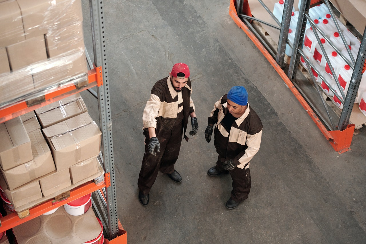 Warehouse workers creating a picking strategy